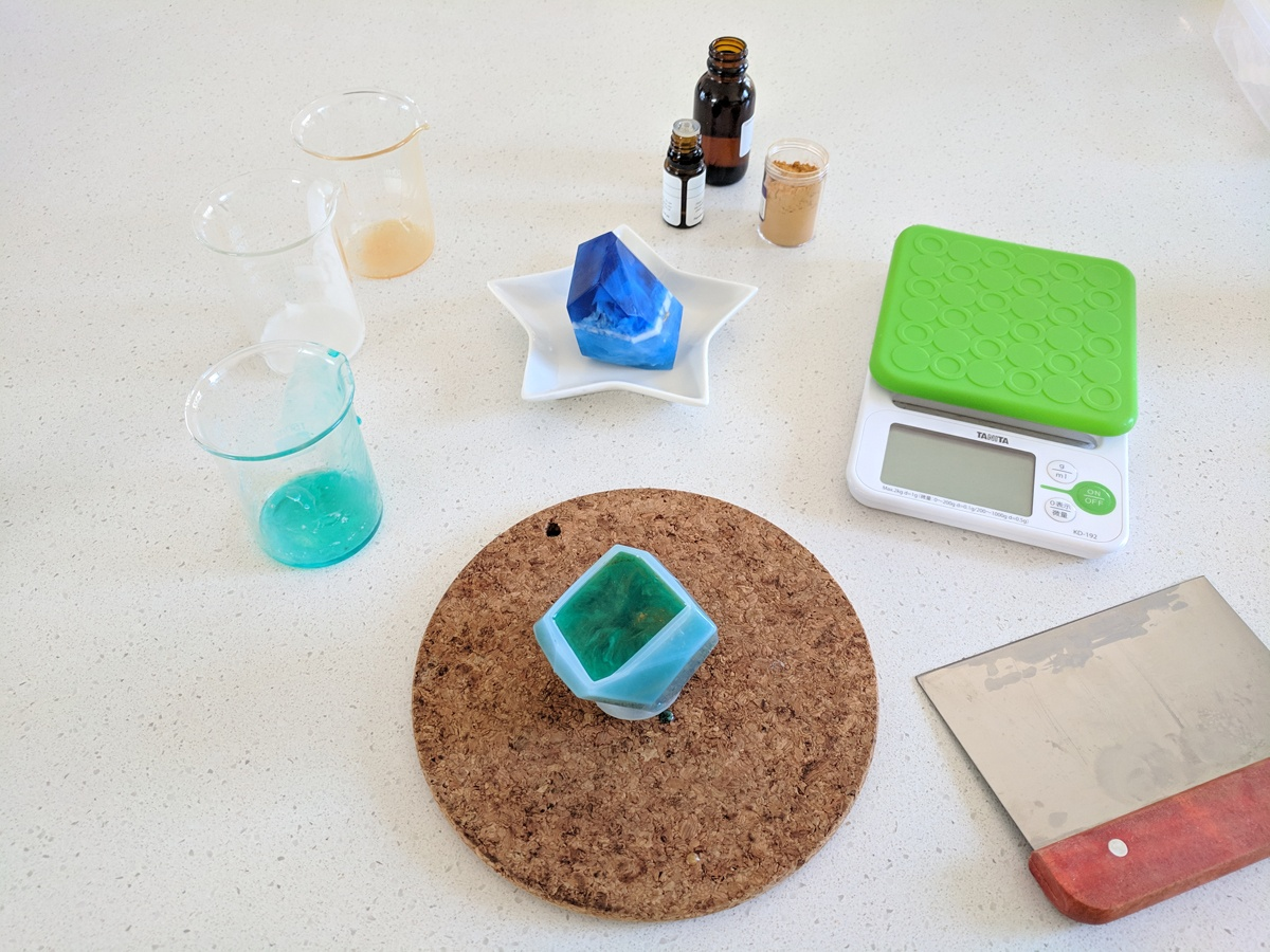 Creating gem soap art pieces is a lot like pouring layered UV resin jewellery