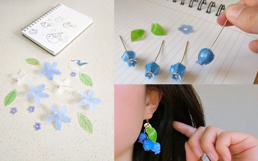Kawaii flower earrings work in progress from sketch to completed jewellery piece'