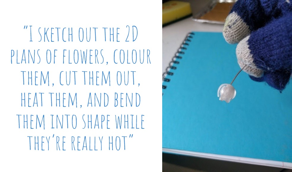 Shaping hot shrink-plastic to make Kawaii flower earrings: 'I sketch out the 2D plans of flowers, colour them, cut them out, heat them, and bend them into shape while they're really hot'