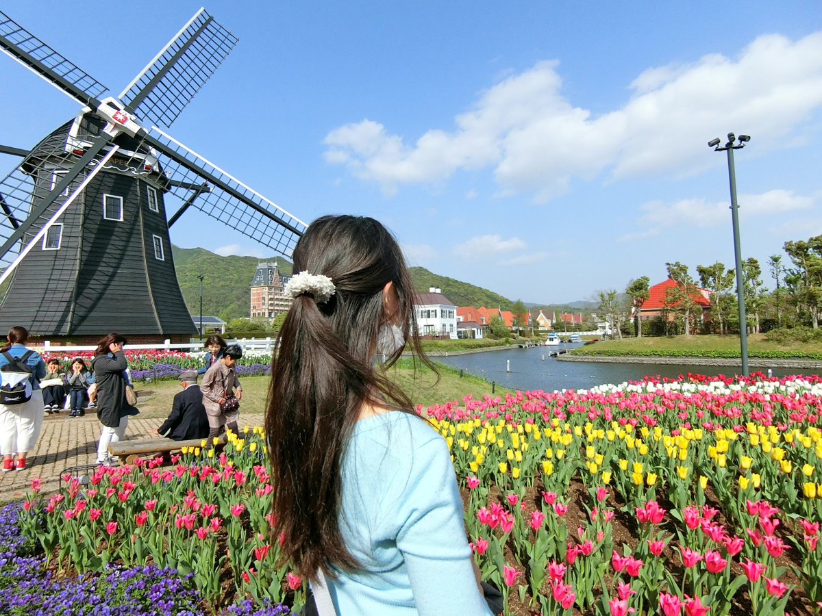 Kei at a tulip festival that inspired some of her recent kawaii jewellery line