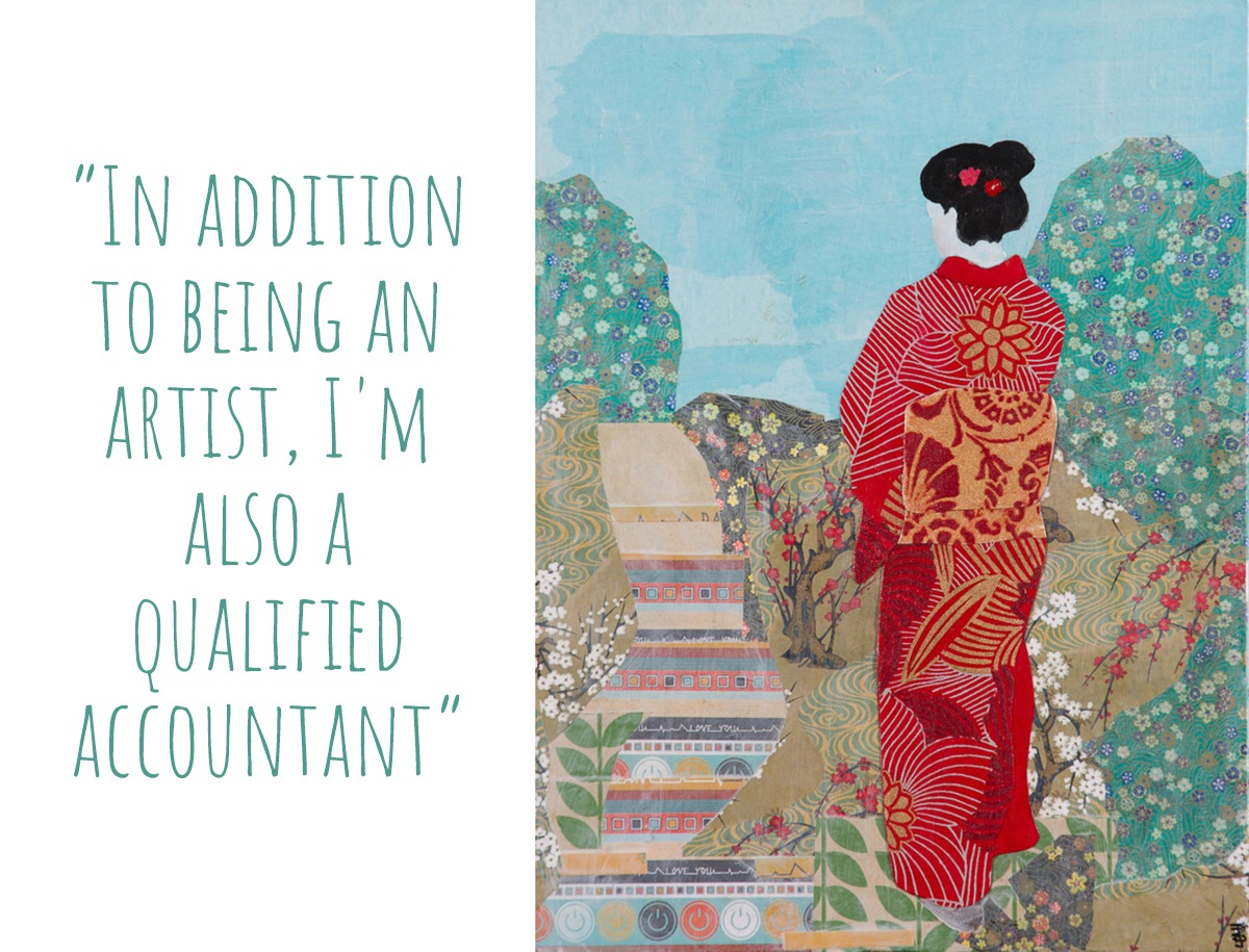 Leah Mariani's colourful collage artwork, 'Geisha'; 'In addition to being an artist, I'm also a qualified accountant'