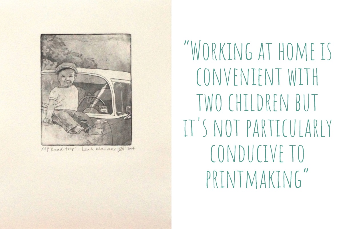 Print of Leah Mariani's original work, 'Road Trip'; 'Working at home is convenient with two children but it's not particularly conducive to printmaking'