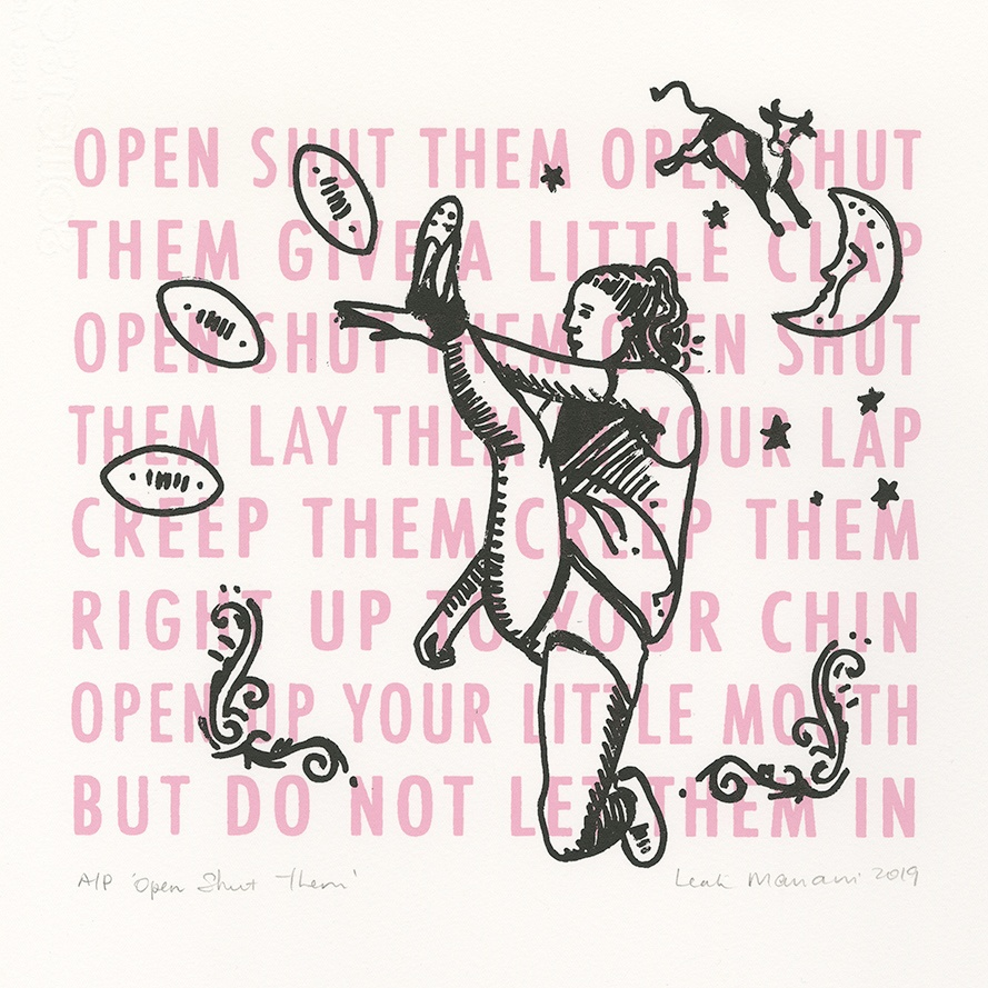 A Leah Mariani print entitled 'Open Shut them' featuring a young woman kicking an AFL football
