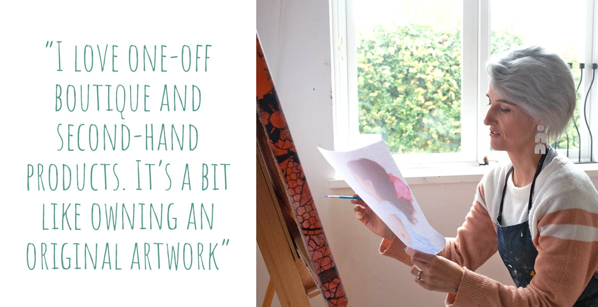 Leah Mariani at work on a painting in her home studio; 'I love one-off boutique and second-hand products. It's a bit like owning an original artwork'