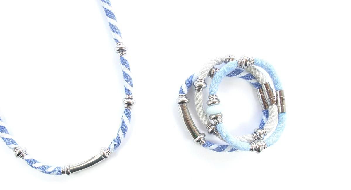 Nautical inspired blue, white and silver necklace and bracelets handmade from upcycled fabrics and quality hardware