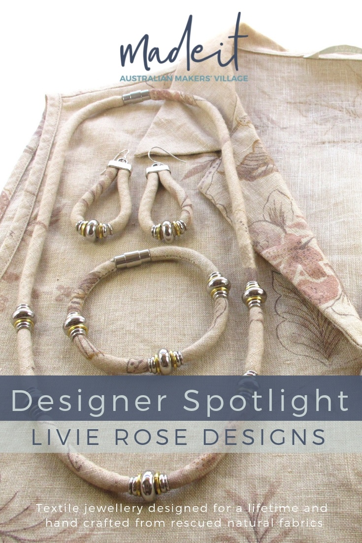 Rose makes eco-friendly textile jewellery from her home studio in tropical Port Douglas, Queensland. Timeless designs hand crafted from upcycled natural fabrics, in line with the slow-fashion movement.