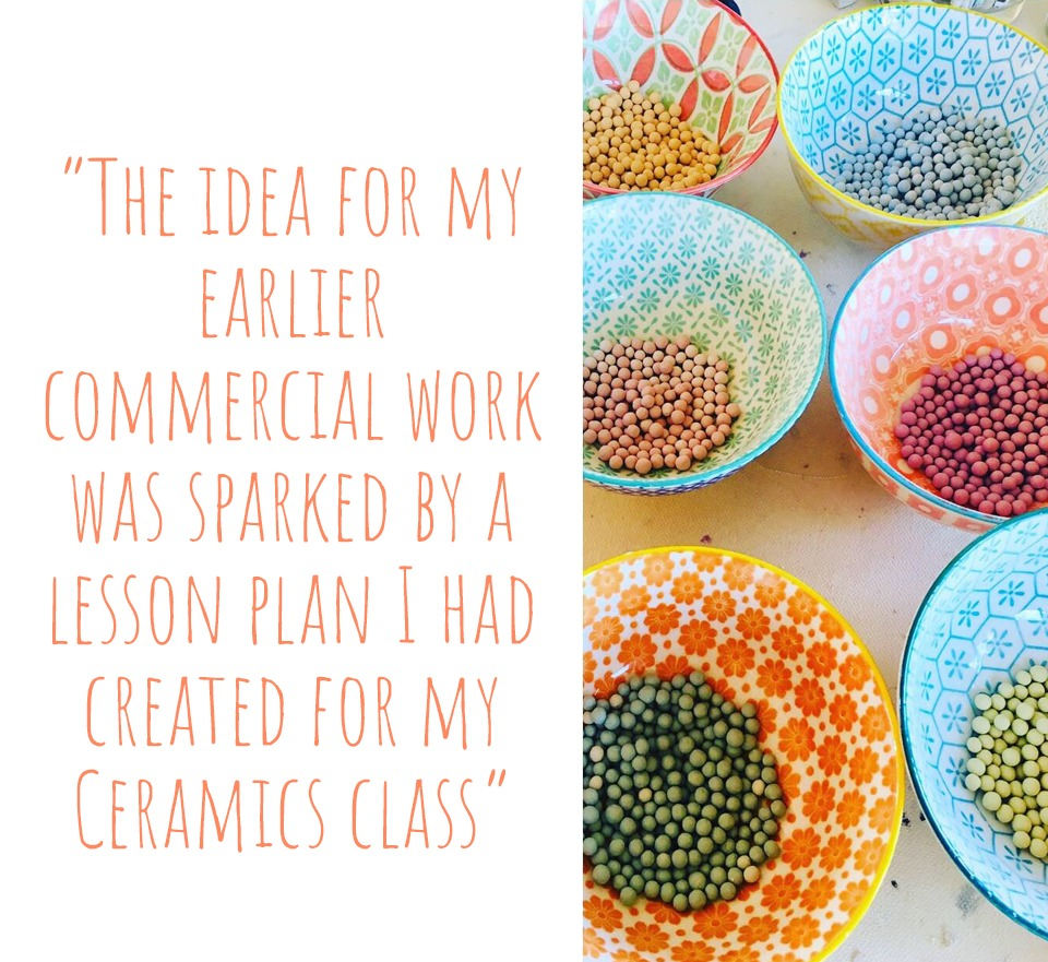 Bowls of coloured ceramic beads wating to adorn pots and vessels as tactile, decorative polka dots: 'The idea for my earlier commercial work was sparked by a lesson plan I had created for my ceramics class'