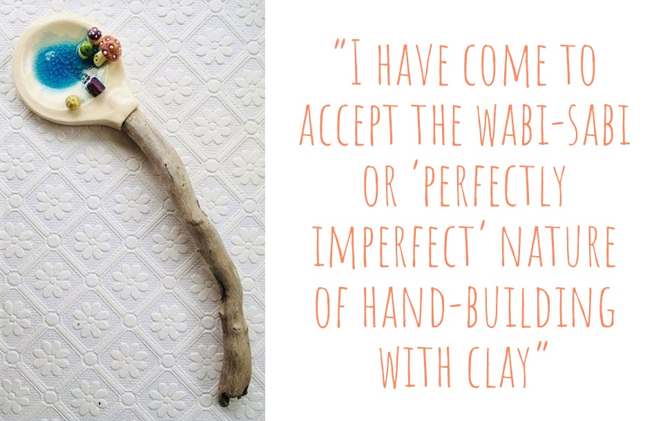 Hand-crafted clay and driftwood spoon by Little Snail Studio: 'I have come to accept the wabi-sabi or perfectly imperfect nature of hand-building with clay'