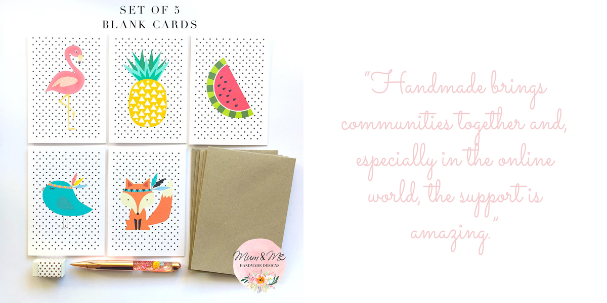 "Set of 5 illustrated cards: ""Handmade brings communities together and, especially in the online world, the support is amazing."""