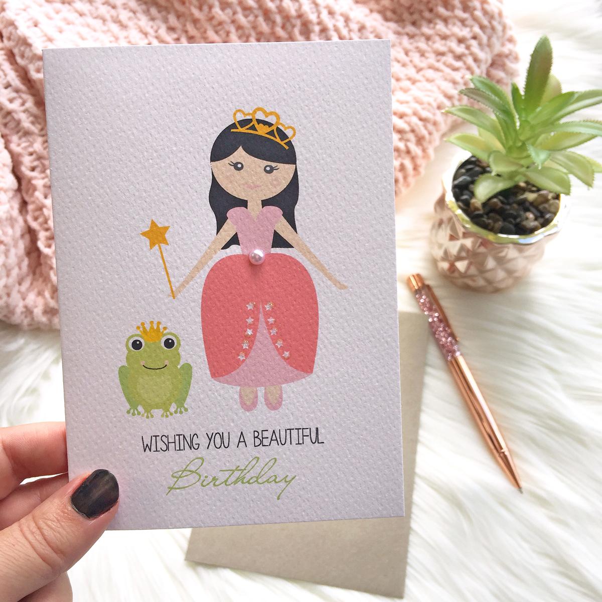 Handmade birthday card design with a princess theme