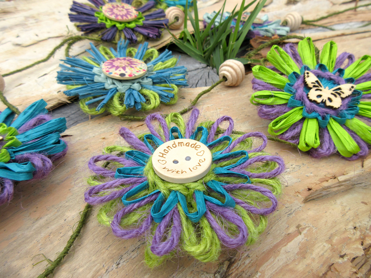Teal, green and purple raffia and string floral garland handmade by M Decor Botanica