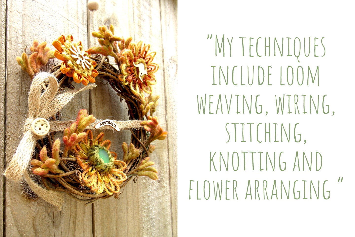 Australian grapevine wreath of handmade flowers by M Decor Botanica; 'My techniques include loom weaving, wiring, stitching, knotting and flower arranging'