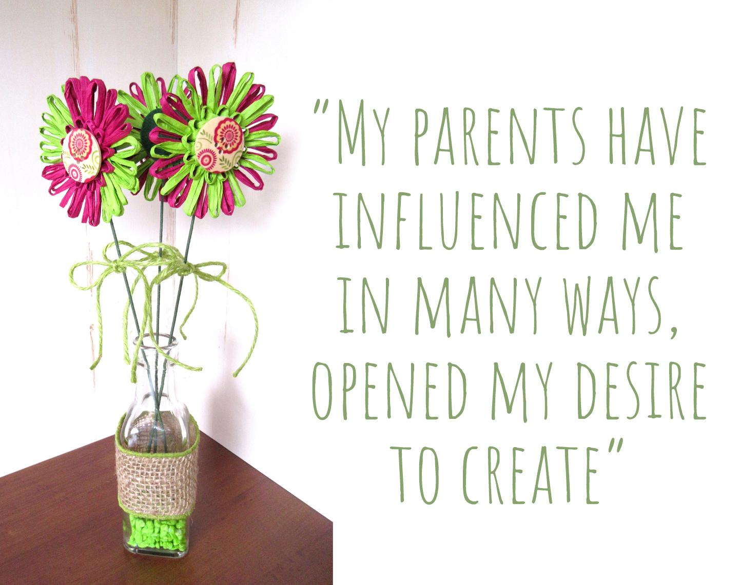 Three long stem lime green and magenta raffia flowers in a bottle by M Decor Botanica; 'My parents have influenced me in many ways, opened my desire to create'