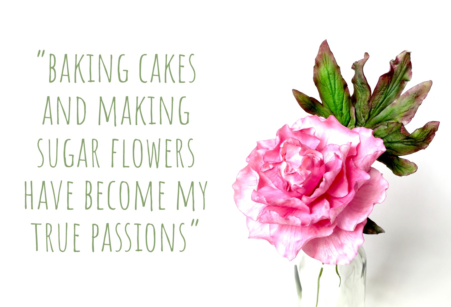 Early work by Marketa, a large pink sugar flower; 'baking cakes and making sugar flowers have become my true passions'