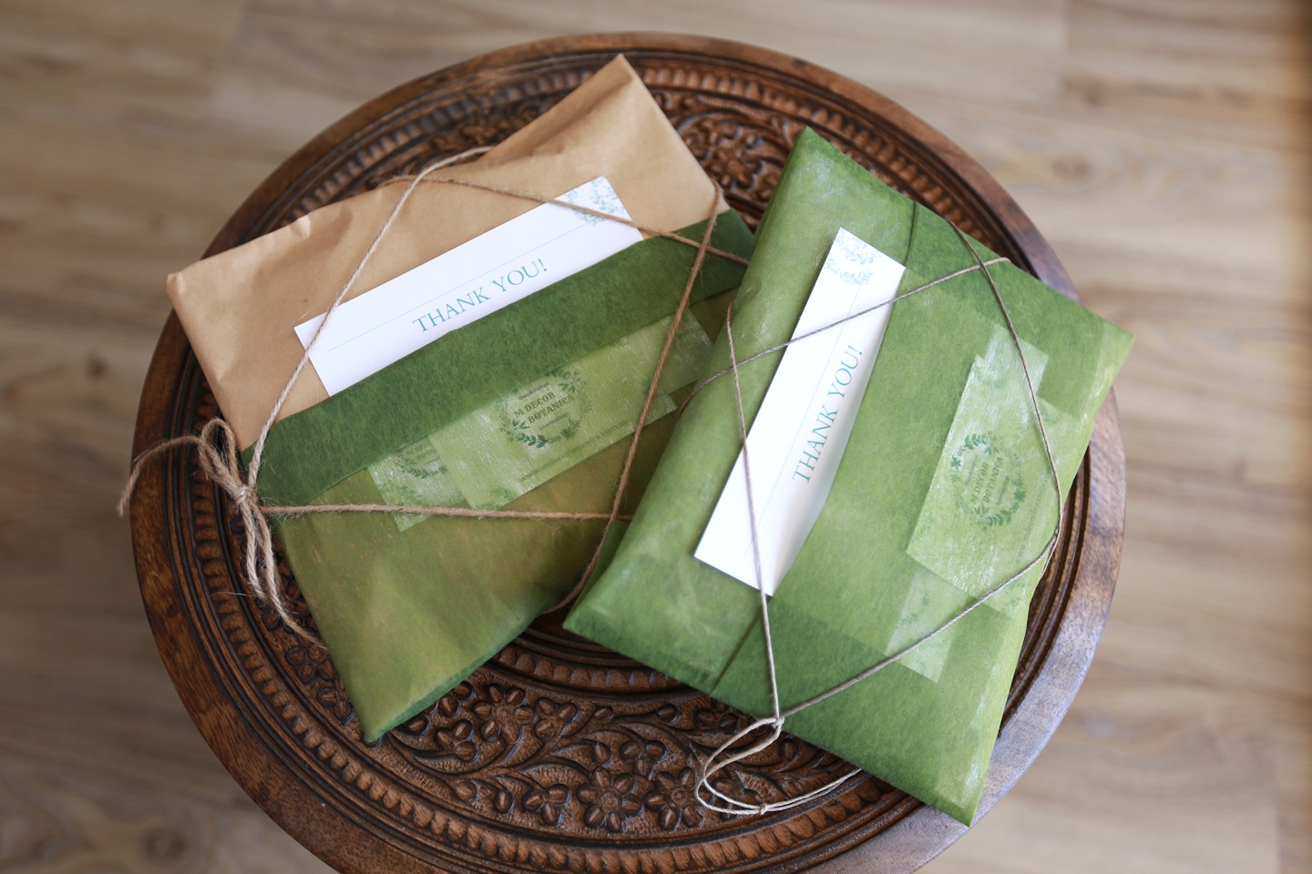 M Décor Botanica orders, beautifully gift wrapped in brown paper, natural green tissue, and string with a thank you note'