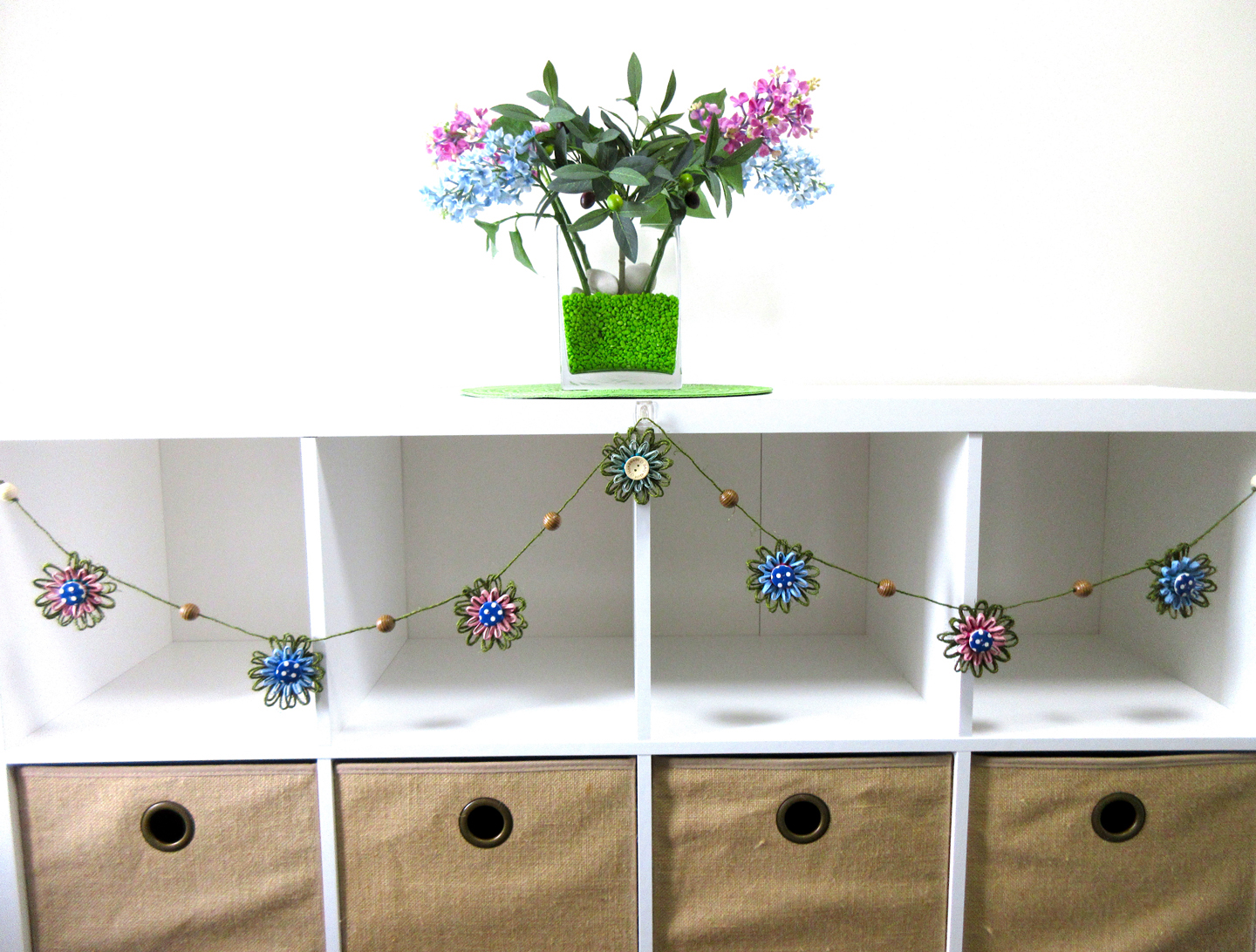 Handmade paper flower garland decoration by M Decor Botanica