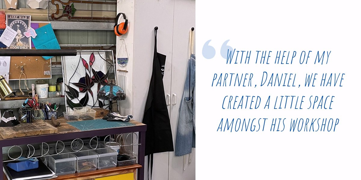 Kahlea's workspace in the family shed, including a custom-made workbench made by her partner; 'With the help of my partner, Daniel, we have created a little space amongst his workshop'