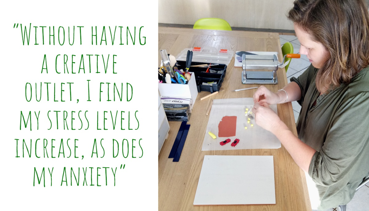 Hanna at work at her kitchen table: 'Without having a creative outlet, I find my stress levels increase, as does my anxiety'