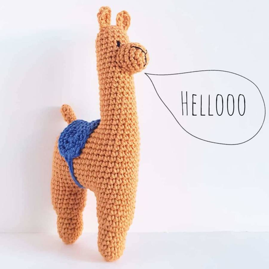 Hand crocheted llama rattle by Noodles Crochet