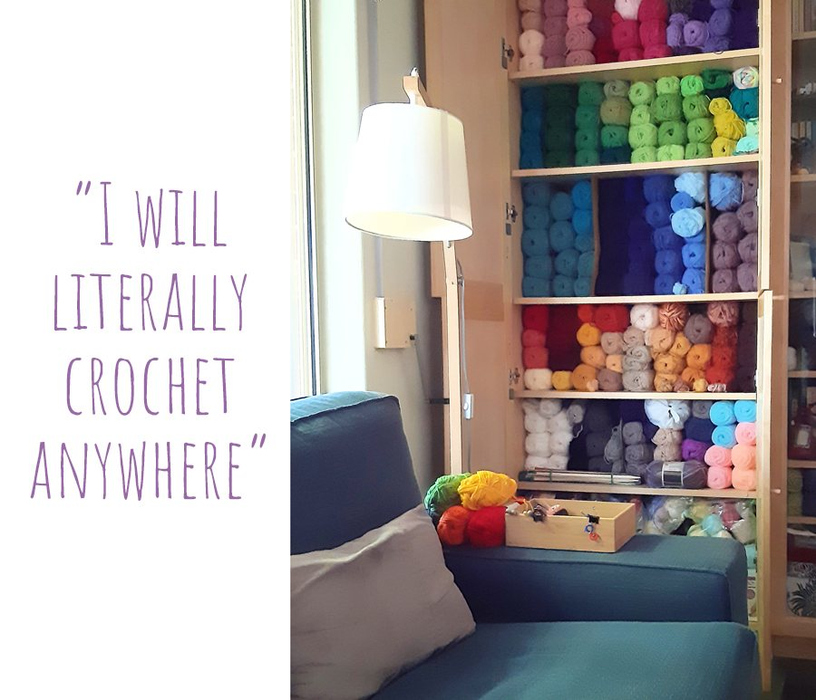 Muriel's colourful stash of yarn fills a floor-to-ceiling cupboard in her lounge room: 'I will literally crochet anywhere'