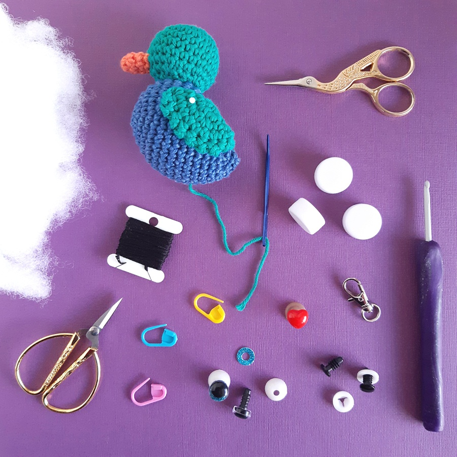 Crochet in progress – the some of the tools of Muriel's trade an a cute crochet duck in progress