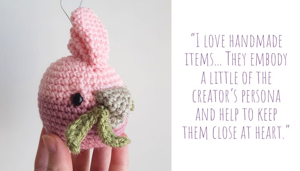Cute crochet gallah Christmas bauble; 'I love handmade items… they embody a little of the creator's persona and help to keep them close at heart'