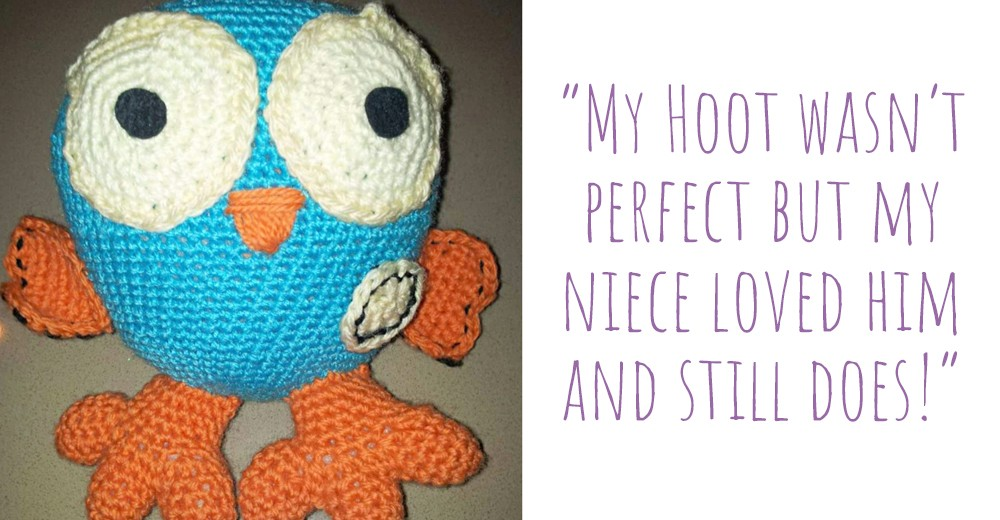 This Hoot doll based on the ABC character was Muriel's first Amigurumi project: 'My Hoot wasn't perfect but my niece loved him and still does!'