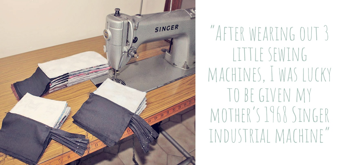 "Karen's vintage Singer industrial sewing machine at her workbench: ""After wearing out 3 little sewing machines, I was lucky to be given my mother's 1968 singer industrial machine."""