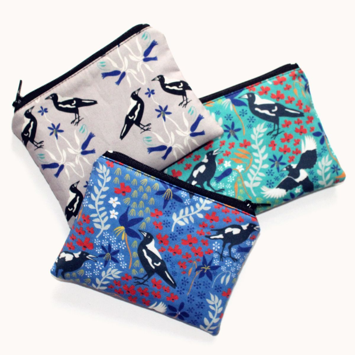Neddynibbles coin pouches in Karen's favourite magpie prints