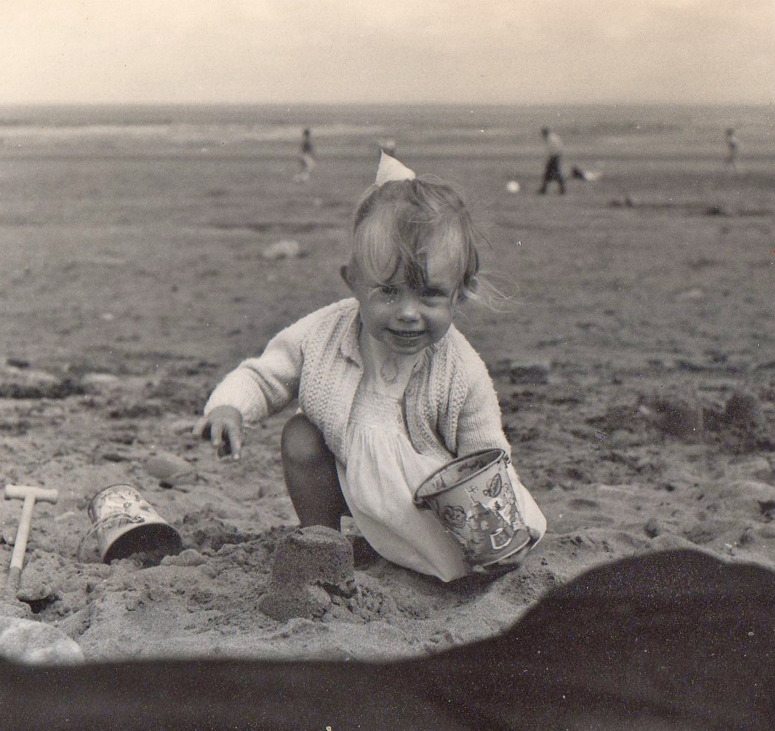 One of Karen's earliest creations; a sandcastle made on an English beach just before she emigrated to Australia at the age of 3.