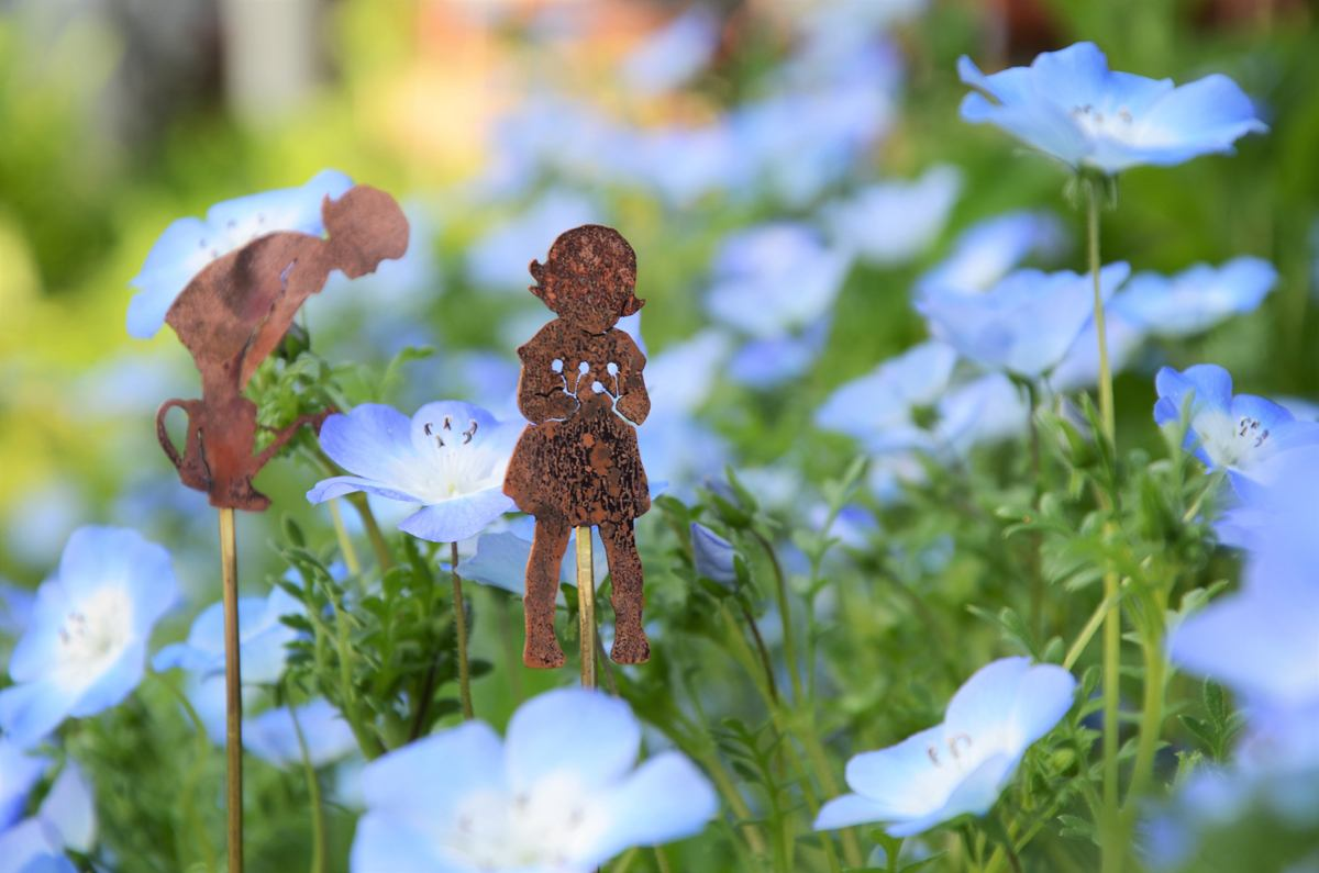 Copper girls by Oh Blackbird's Nest, tending to the flowers in Rachel's beloved garden