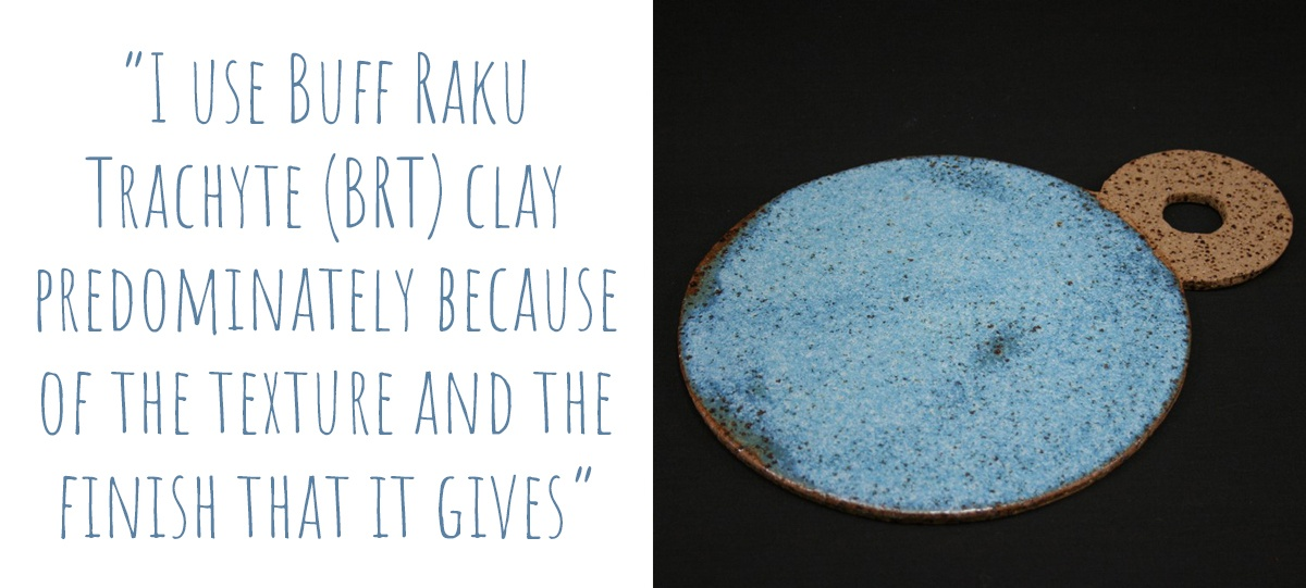 "Blue glazed buff raku trachyte cheese platter: ""I use buff raku trachyte (BRT) clay predominantly because of the texture and finish that it gives."