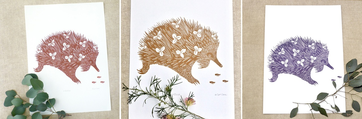 The finished products: Echidna print in three earthy colour variations