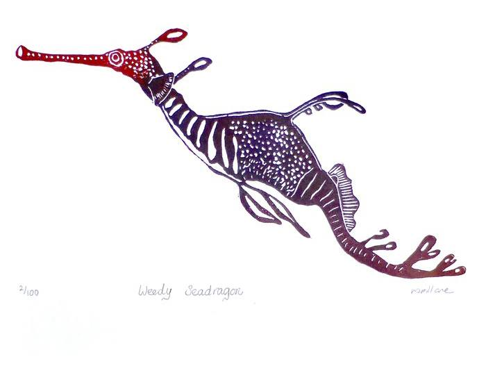 'Weedy Seadragon' limited edition lino print artwork by Owl Little Print Shop