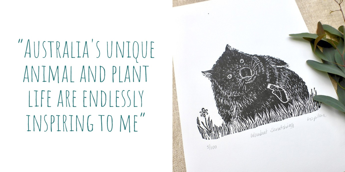 'Wombat Scratching' limited edition lino print; 'Australia's unique animal and plant life are endlessly inspiring to me'
