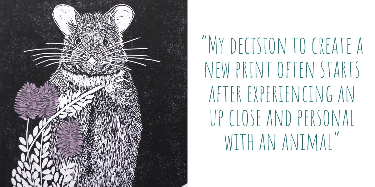 Detail of 'Stick Nest Rat' limited edition lino print by owl Little Print Shop: 'My decision to create a new print often starts after experiencing an up close and personal with an animal'