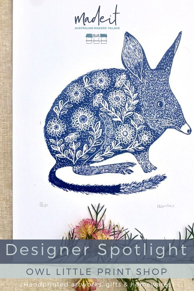 Inspired by Australian native fauna, Nicole carves her own block print designs to create unique, handprinted artworks, gifts and homewares