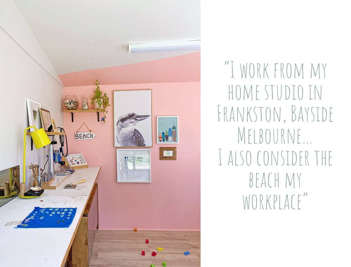The home studio of Interior designer-turned jeweller and artist Kirsty: 'I work from my home studio in Frankston, Bayside Melbourne… I also consider the beach my workplace'