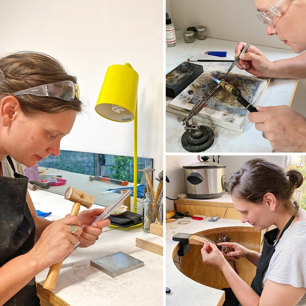 A trio of images of Kirsty hammering, soldering and filing jewellery pieces in her Melbourne home studio