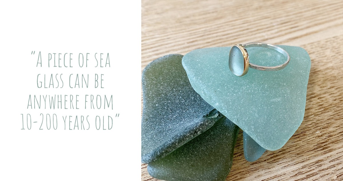 A thin hammered silver ring with aquamarine coloured sea glass by OMG SeaGlass Designs: 'A piece of sea glass can be anywhere from 10-200 years old'