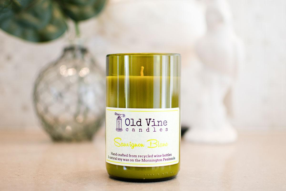 'Savignon Blanc' scented candle hand crafted from a recycled wine bottle and natural soy wax by Old Vine Candles