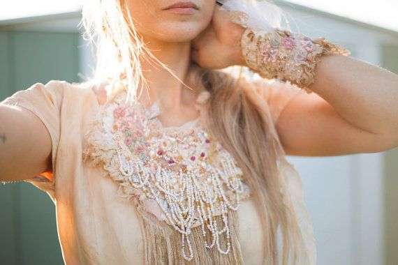 Intricately beaded boho bridal statement necklace and wrist cuff