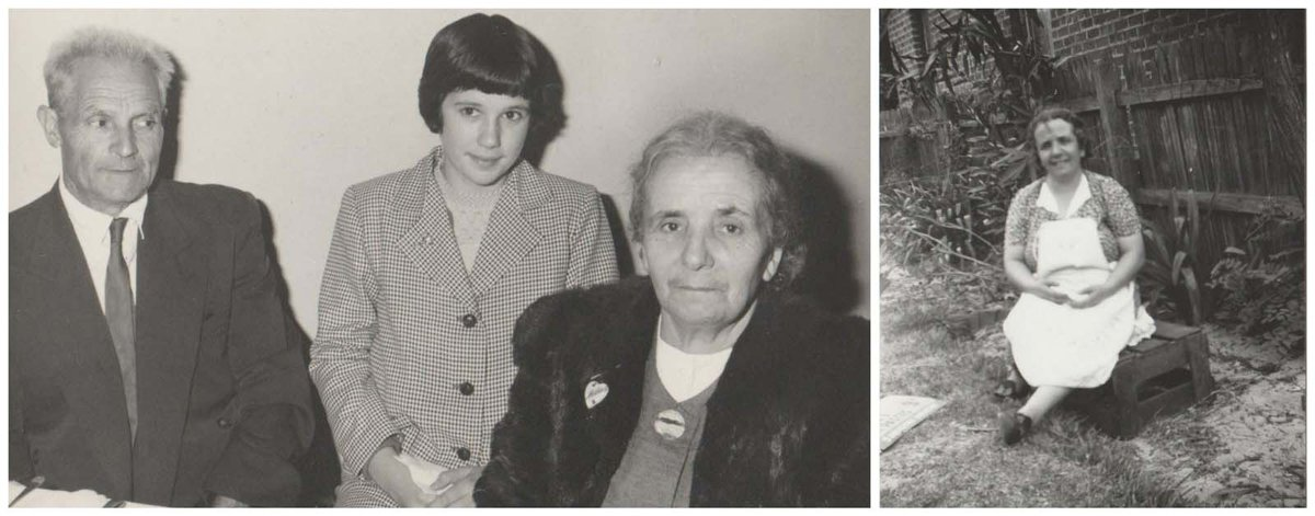 Rosemary's creative influence, her grandmother, pictured (left) with a young Rosemary and her grandfather, and alone (right)