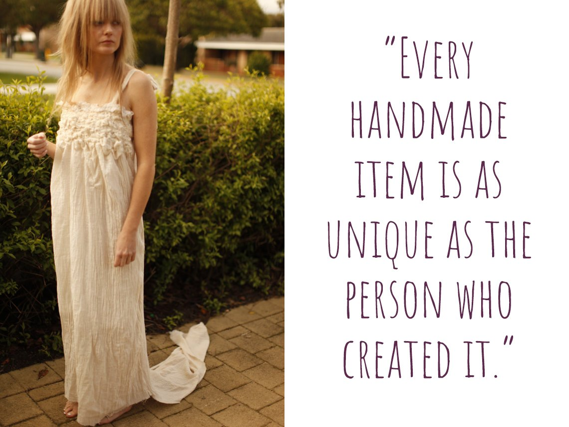 "Boho wedding dress: ""Every handmade item is as unique as the person who created it."""
