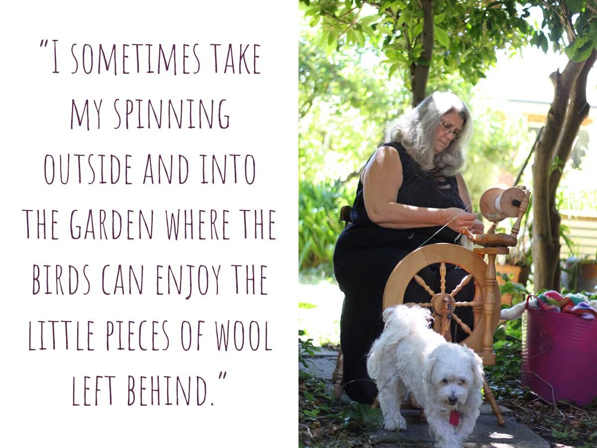 "Rose at her spinning wheel: ""I sometimes take my spinning outside and into the garden where the birds can enjoy the little pieces of wool left behind."""