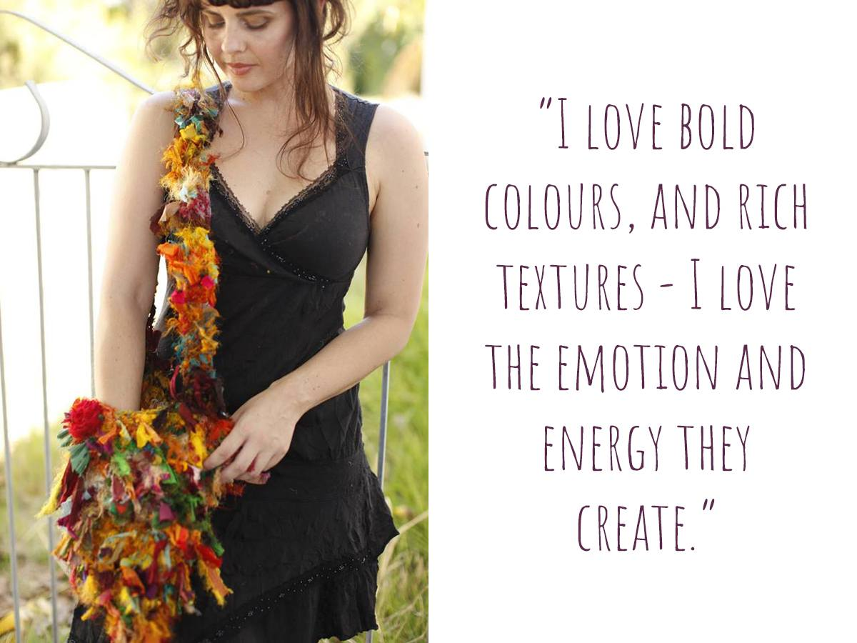 "A collaborative work between Rose and Holly: ""I love bold colours, and rich textures - I love the emotion and energy they create."""