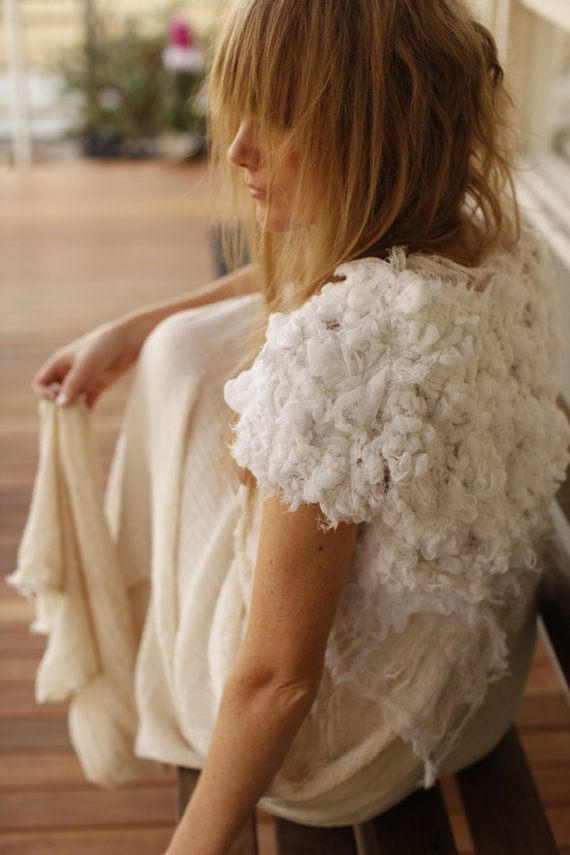 A knitted bridal bolero by Plumfish