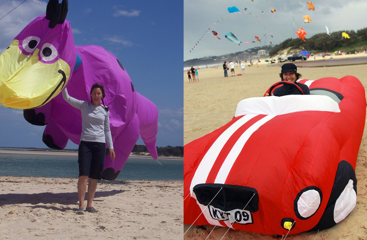Two of Jan's 3D inflatable kite creations; a large purple dinosoar and life-size red sports car