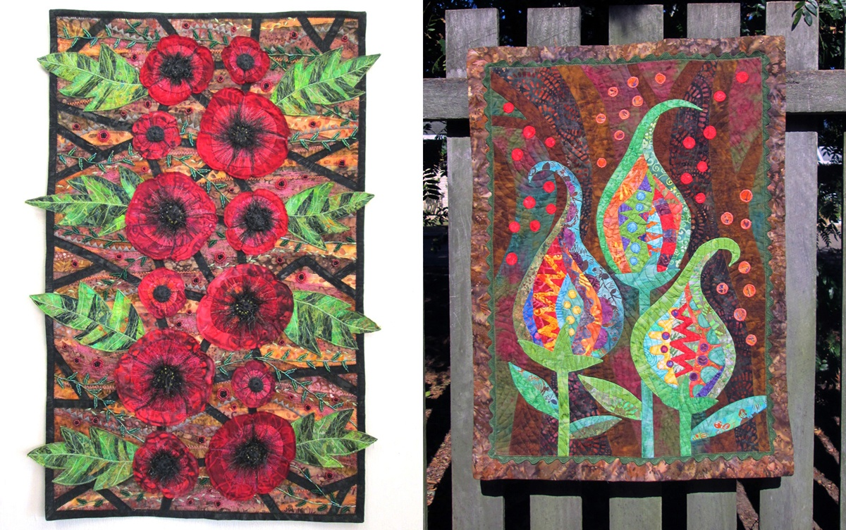 Two of Jan's earlier textile artworks before she discovered her full-time creative path in embroidery