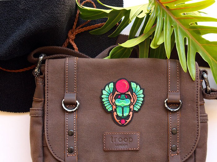 Egyptian green scarab beetle embroidered iron-on badge-by PatchHaven'